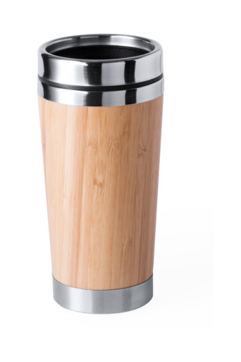 Bambusz borítású, rozsdamentes acélból készült egyfalú thermo bögre